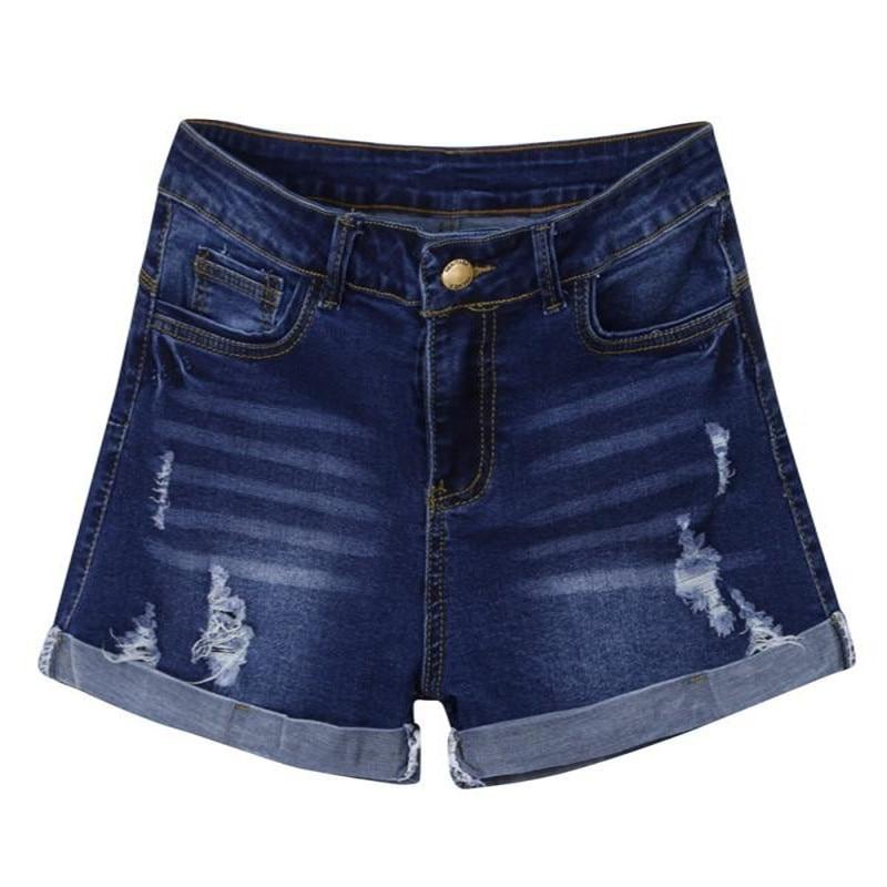 Women's Short Pants 2019 Blue Pant Low Waisted Washed Ripped Mini Hole Short Jeans Denim Pants Shorts W627