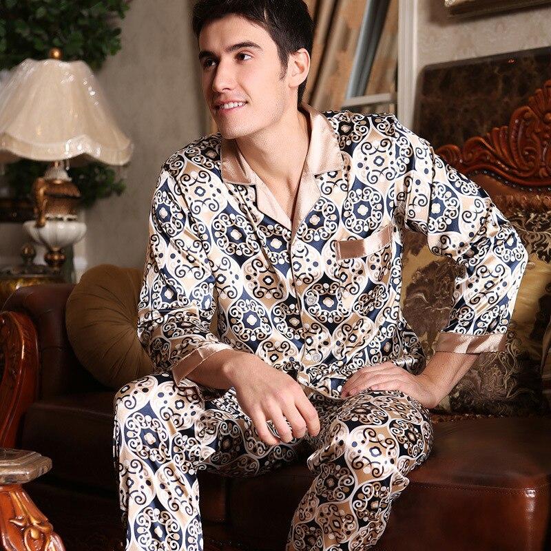 Сексуальный искусственный шелк мужские пижамы мода принты лед шелк одежда для сна мужские с длинным рукавом пижама брюки комплекты из двух частей новинка 5002