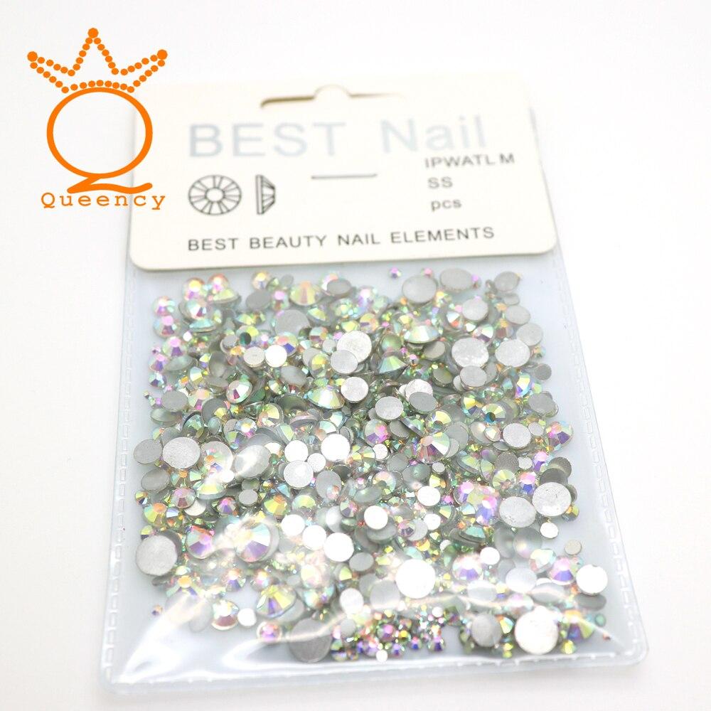 Crystal Flatback Nonhotfix Rhinestone 1440pcs SS3-SS30 MIX Size 3d sticker Glisten AB Glass With label-head Private Custom Style