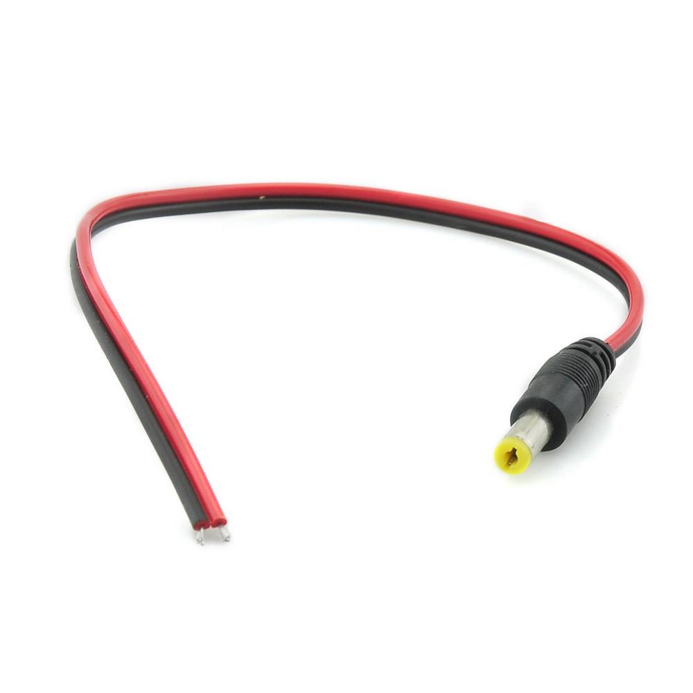 Cable de alimentación DC conector macho 2,1*5,5mm conector de cola de cerdo adaptador de cola CCTV 12V