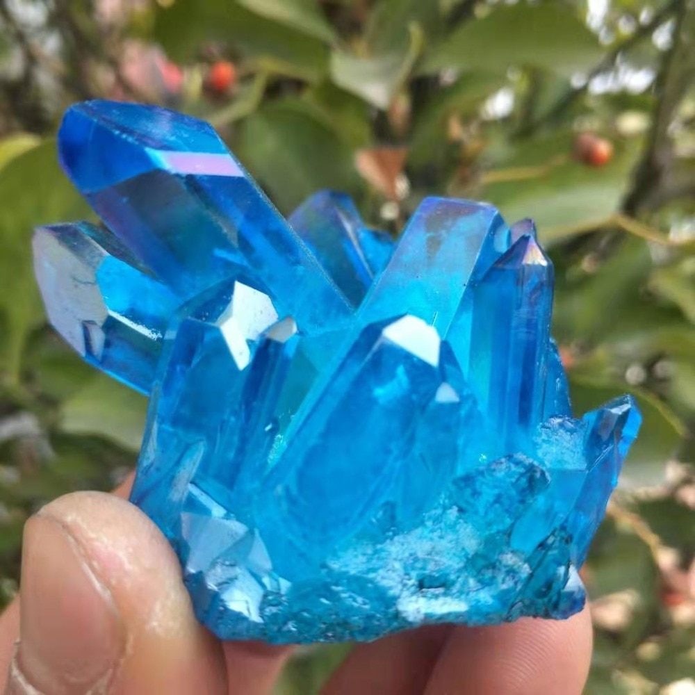 70-80g A hermosa aura Ángel cuarzo cluster chapado natural color cristal clúster curación boda decoración acuario