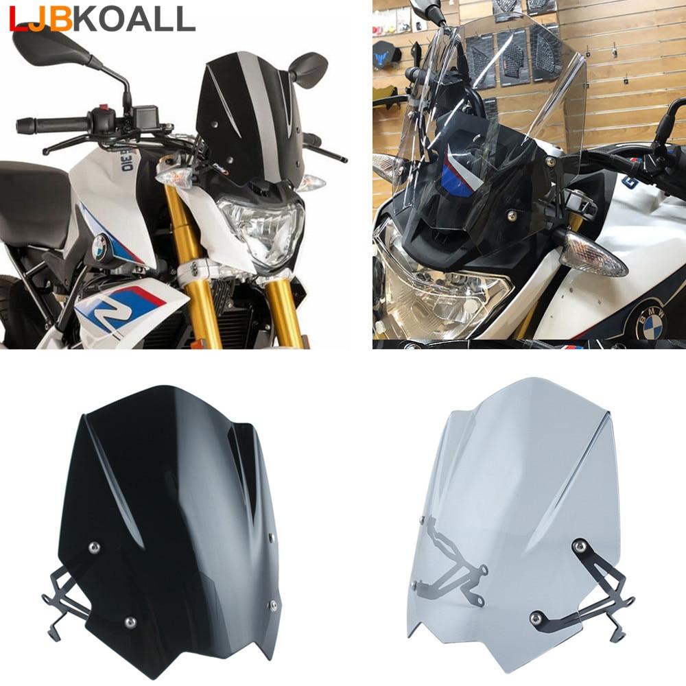 LJBKOALL ABS, visera para parabrisas, doble burbuja, Piezas de motocicleta para BMW G310R G 310R 2016 2017 2018 negro/humo
