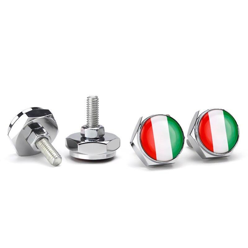 4 Uds Marco de matrícula de coche pernos tornillos para la bandera de Italia emblema Fiat Jeep Alfa Romeo Lancia Volkswagen, Renault Ford Peugeot Kia