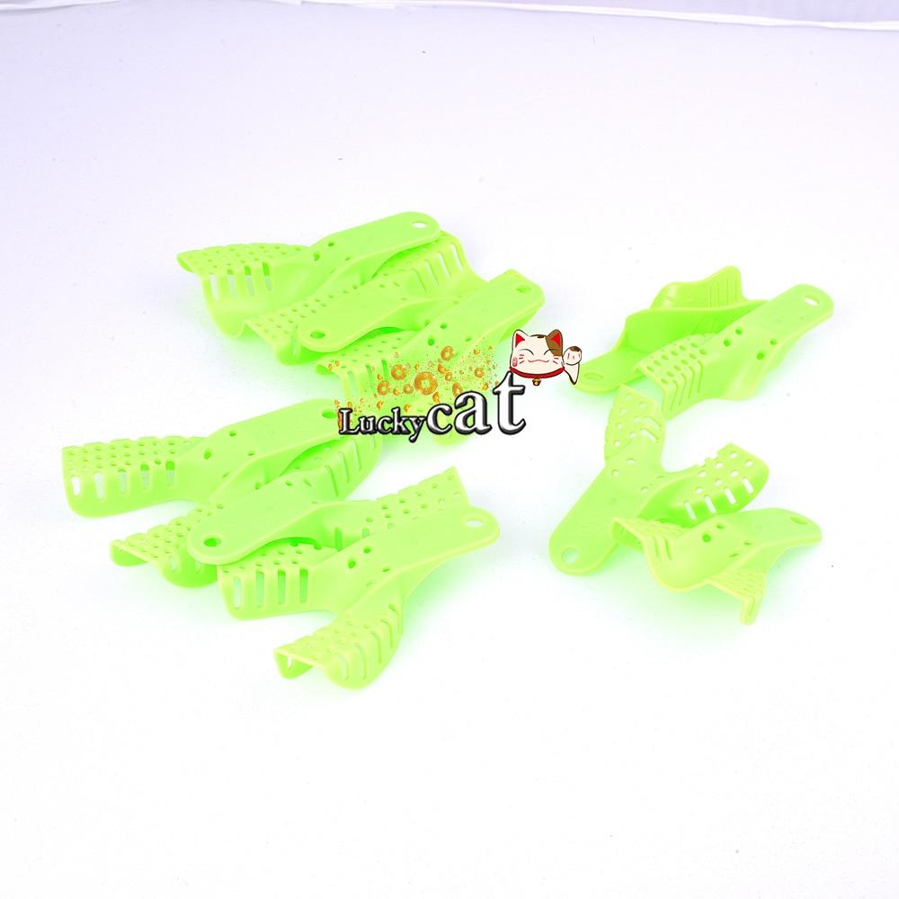 10pcs /set green Plastic Dental Impression Trays Denture Instrument
