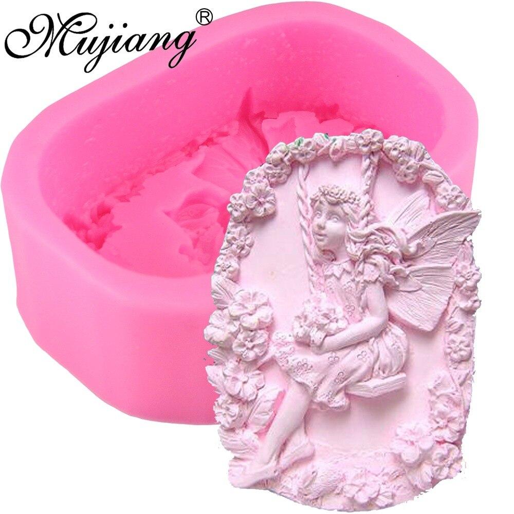 Mujiang, molde de silicona con diseño de Ángel de flores DIY, molde de silicona 3D para manualidades, arcilla polimérica de hadas, moldes para velas, utensilios para decoración de tortas con fondant