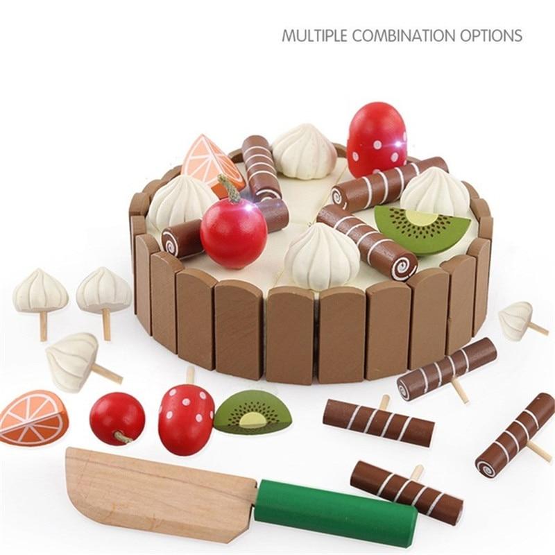 Деревянные детские кухонные игрушки, ролевые игрушки для резки торта, игровой пищи, детские игрушки, деревянные фруктовые игрушки для приго...