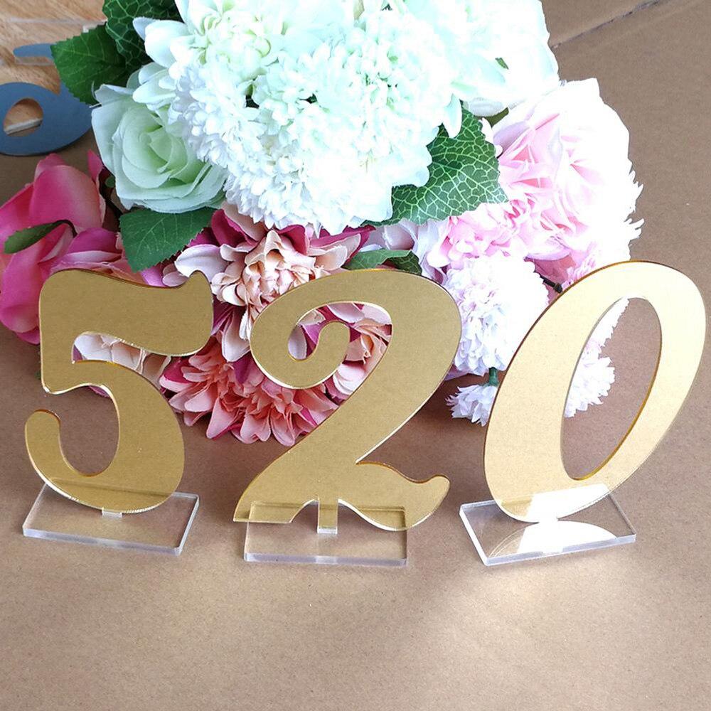 Mesa de eventos Digital números de pie acrílico espejado oro plata con soporte decoración del hogar de la boda