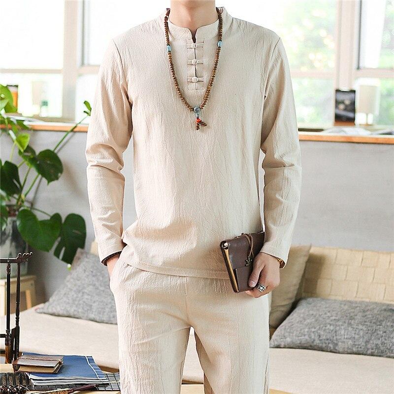 Men's Pajamas Spring and autumn Long Sleeve Cotton Linen Pyjamas Men's Sleep Lounge Pajama Set Trousers