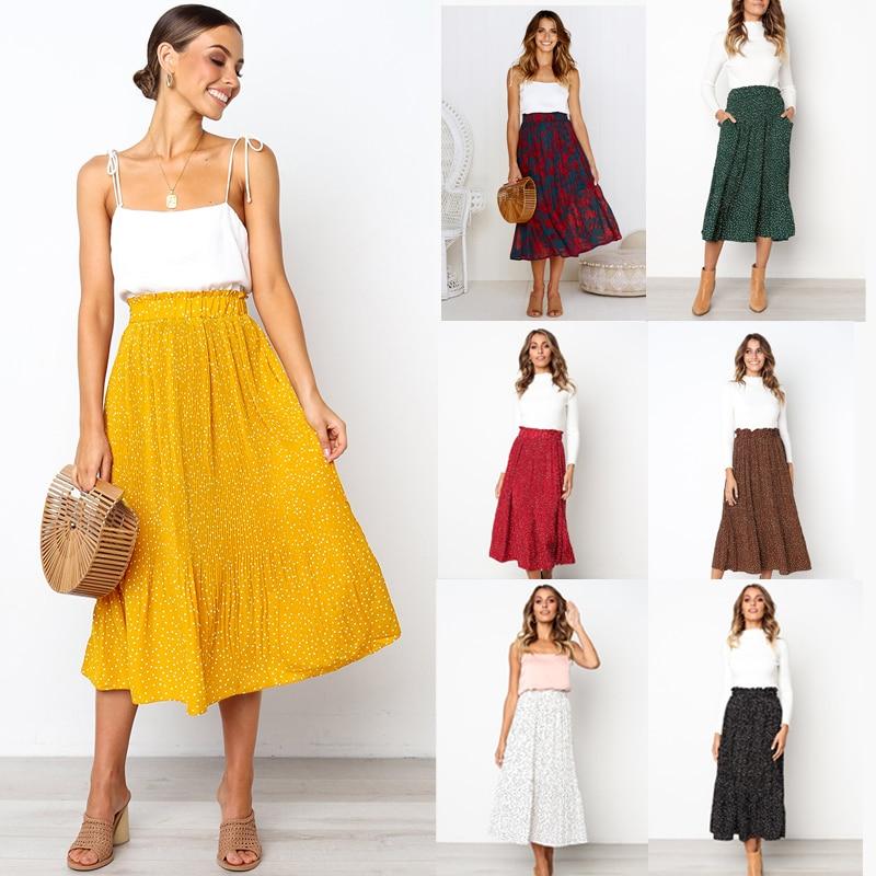2019 mujeres Falda plisada de alta calidad dibujo de lunares Midi falda bolsillo amarillo verde chica verano otoño falda eDressU CLX-101082
