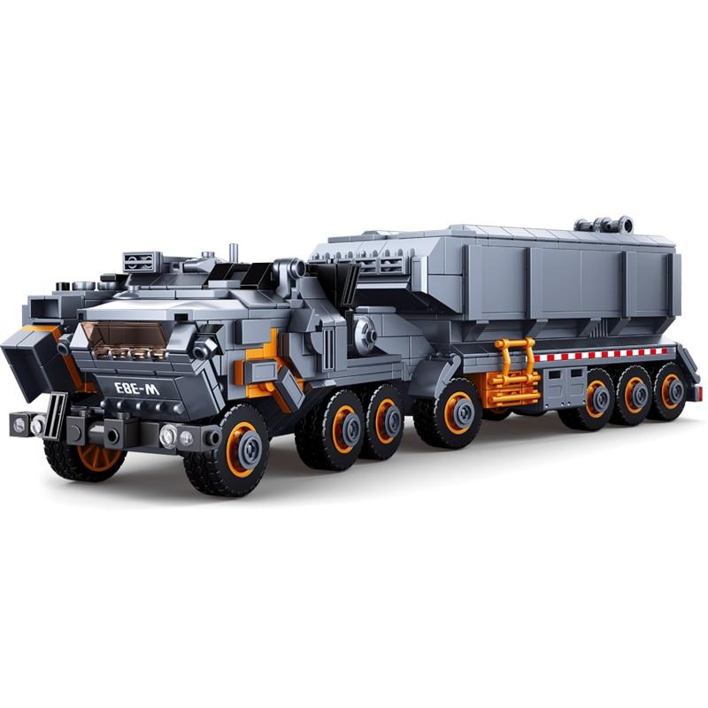 Sluban Military Model Building Block the Wandering Earth Heavy Transport Vehicle Truck 832pcs Educational Bricks Toy Boy
