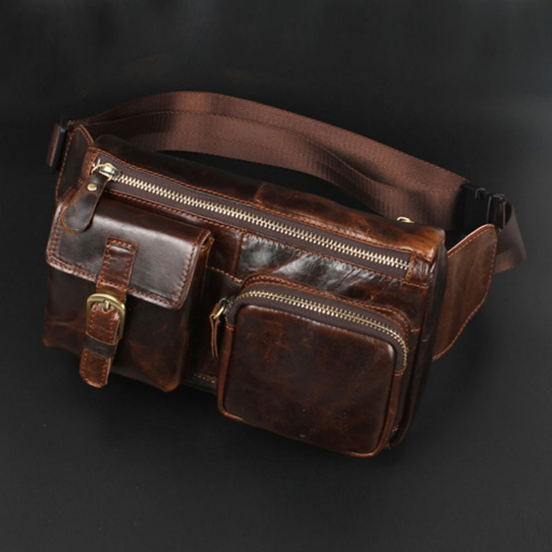 men cowhide genuine leather military cell mobile phone cover case skin hip belt bum purse fanny pack waist bag pouch New Men Oil Wax Genuine Leather Cowhide Vintage Casual Belt Travel Cell/Mobile Phone Sling Chest Belt Pouch Fanny Pack Waist Bag