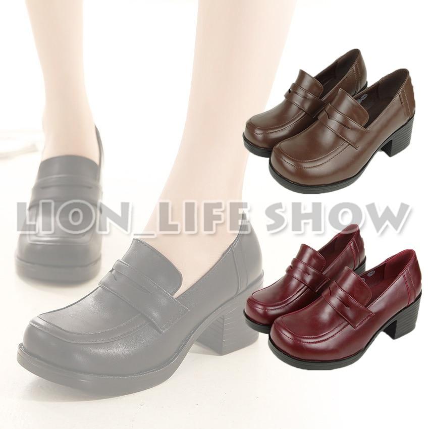 3 ألوان المرأة اليابانية زي مدرسي طالب جلد أسود عالية الكعب JK أحذية تأثيري