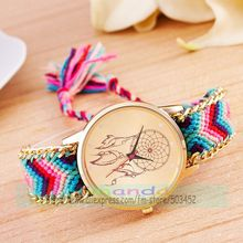 100pcs/lot dreamcatcher dial rope watch for women fashion Dream Chaser no logo ribbon wrist watch wholesale elegance clock
