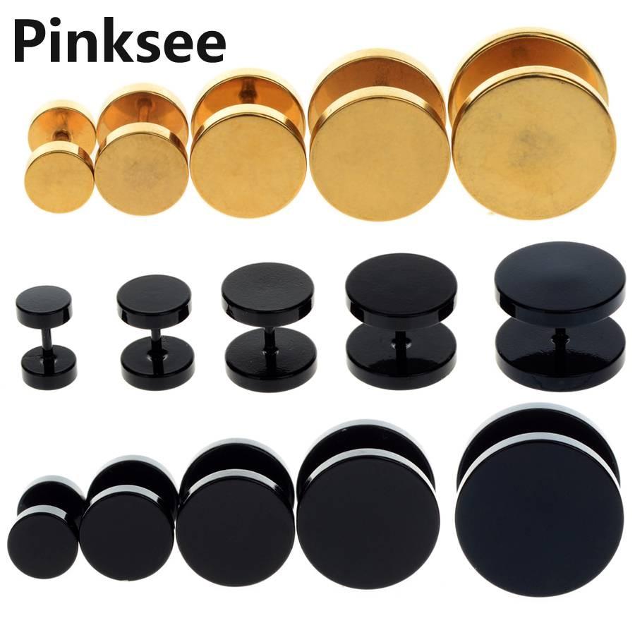 2PCS Steel barbell Fake Ear Plug Ear Tunnels Punk Plugs and Tunnels Stretcher Stud Earring 6/8/10/12/14mm Piercing Body Jewelry