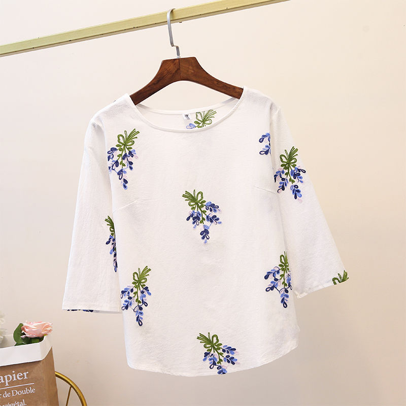 Blouse Women Plus size White Cotton Floral Embroidered Blouses Shirts 3/4 Sleeve Ladies Tops Casual floral embroidered high low blouse