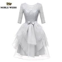 Noble weiss mini vestido de baile de renda curta personalizado slivery scoop organza vestidos de festa de casamento com três quartos mangas
