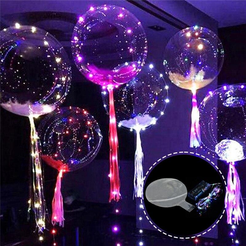 18 pulgadas luminoso Led globo 3M globo con luz Led cadena luces burbuja ronda de helio globos de juguete para niños decoración para fiesta de boda