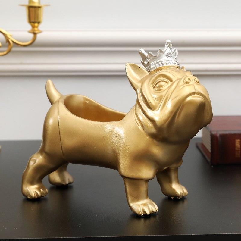 Figuritas de Bulldog de resina creativas, organizador de llaves, adornos decorativos de escritorio, caja de almacenamiento, accesorios de decoración del hogar R761