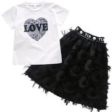 Conjunto de ropa de verano para niñas, conjunto de 2 piezas de ropa para niñas adolescentes, Conjunto de 6 8 10 12 años, camiseta + falda con estampado de corazón blanco