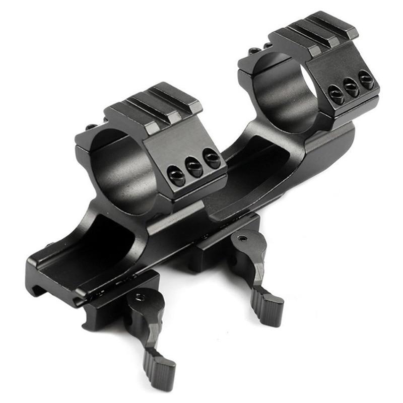 Alcance de caza doble montaje en anillo voladizo Picatinny Weaver scope Rail Mount QD Cam Locks con adaptador 25,4mm 30 mm