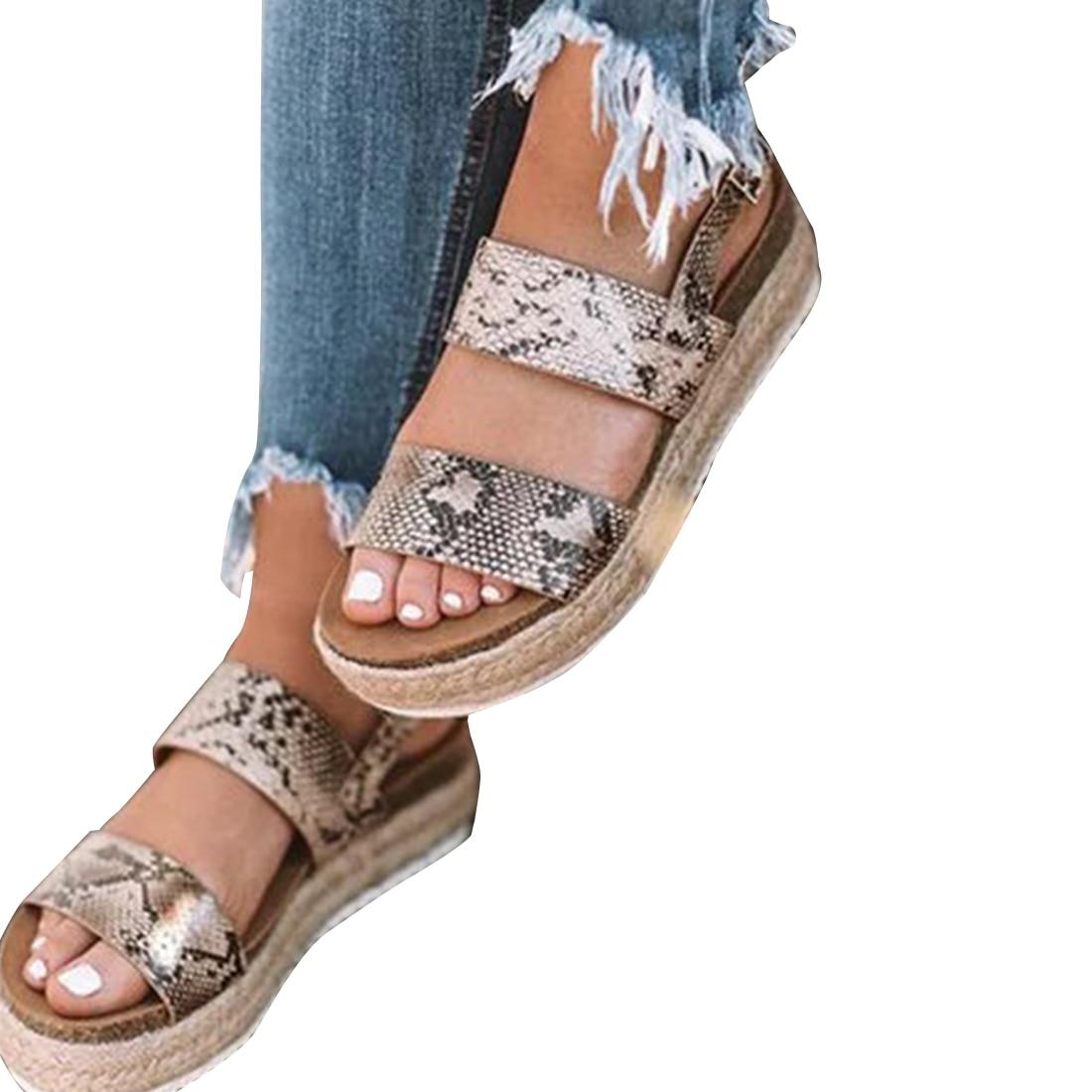 Sandalias de verano con estampado de leopardo para mujer, sandalias de piel sintética a la moda para mujer, zapatos de cáñamo de estilo bohemio, tallas 35-43, negro y amarillo