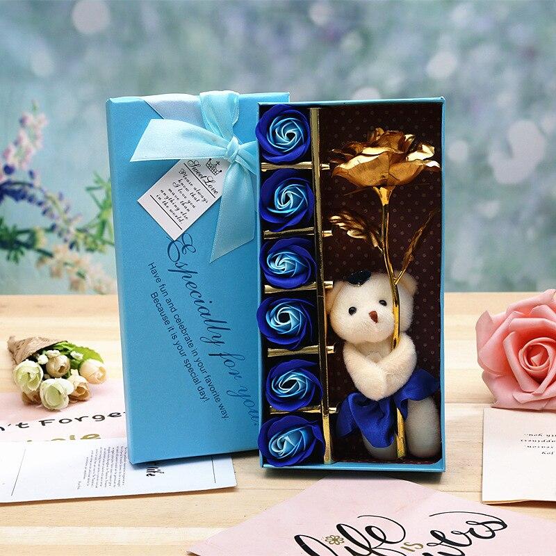 Flores artificiales de YO CHO, caja de regalo con 13 Uds. De rosas artificiales en color dorado, rojo, rosa, flores de San Valentín, cumpleaños, boda