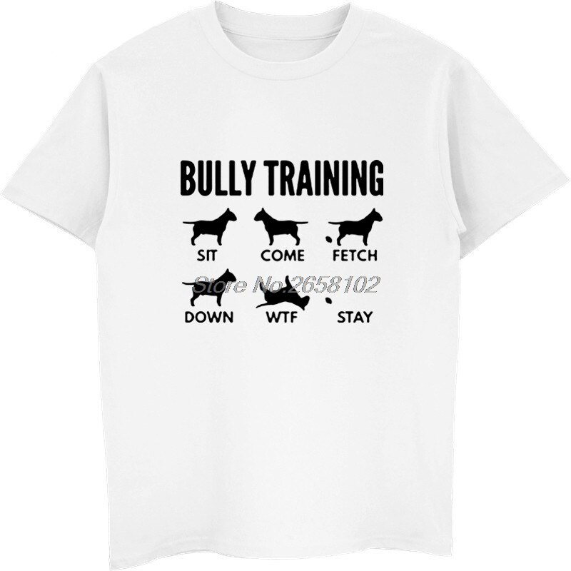 Grappige Bull Terrier Bully Traininger Print T-shirt Zomer Mannen Katoen Korte Mouw T-shirt Hip Hop Tees Tops Harajuku Streetwear