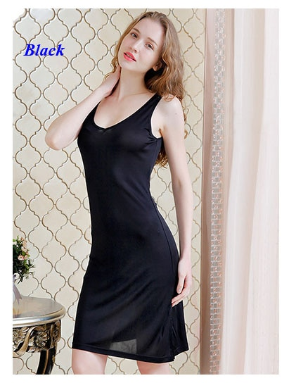 Chemise de nuit en soie Pure à encolure en V, 100% soie double face tricoté grande taille robe de nuit à fente latérale, avec masque cadeau