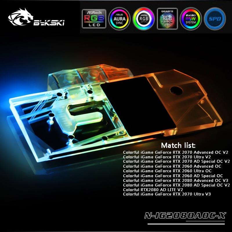 Bykski Full Coverage GPU 12V RGB / 5V A-RGB Water Block For VGA Colorful RTX2080 Advanced OC V3 Graphics Card N-IG2080AOC-X