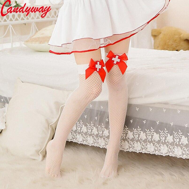 Белая шлюха, костюм медсестры, Чулочные изделия с красным бантом, украшения для женщин