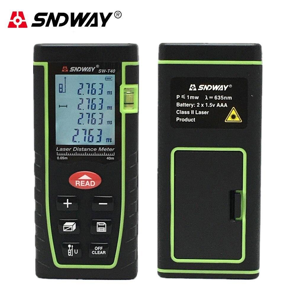 Medidor de distancia láser Digital SNDWAY, herramienta de medición láser trena, buscador de rango con gran pantalla LCD retroiluminada, nivel de burbuja, autocalibre