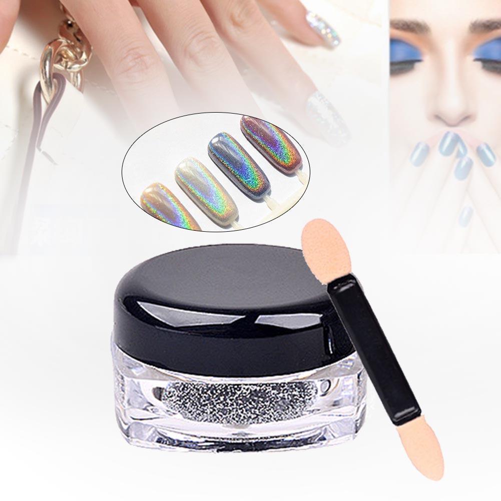 MANZILIN polvo con láser holográfico Punk uña Glitter belleza uñas arte Arco Iris polvo de cromo Metal polvo de pigmentos decoración de uñas