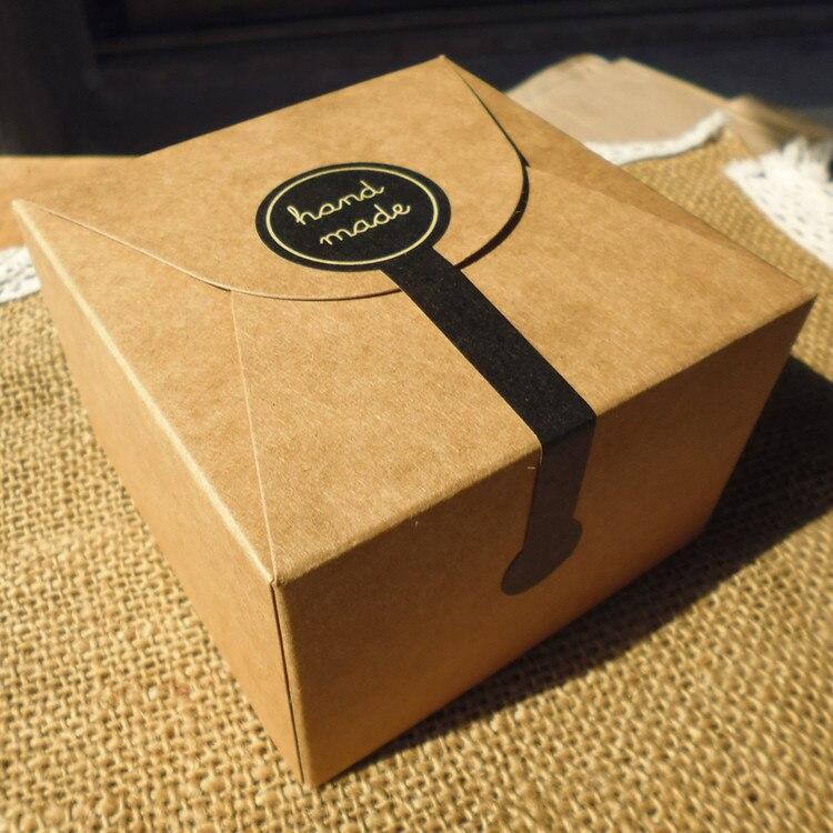 """100 Uds adhesivo largo estilo """"hecho a mano"""" negro hecho a mano pastel embalaje sellado etiqueta adhesivo de papel Kraft hornear pegatinas de regalo de manualidades M1201"""