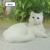 big real life lying cat model plasticfurs beautiful white cat doll gift about 30x16x21cm xf1433