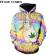 PLstar Cosmos Free shipping Fabulous Blunt Slut Hoodies trippy Tie-dye Weed Leaf 3d print Women Men casual Hooded Sweatshirt
