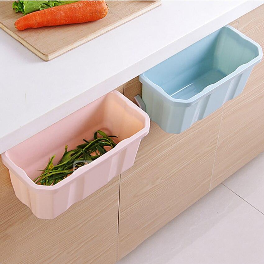 1 pc pendurado em pé cozinha resíduos bin porta do armário pendurado pp simples lixo bin lixo sucata caixa de armazenamento de resíduos bin
