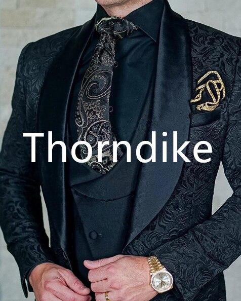 Thorndike Mens Wedding Suits 2019 Italian Design Custom Made Black Smoking Tuxedo Jacket 3 Piece Groom Terno Suits For Men