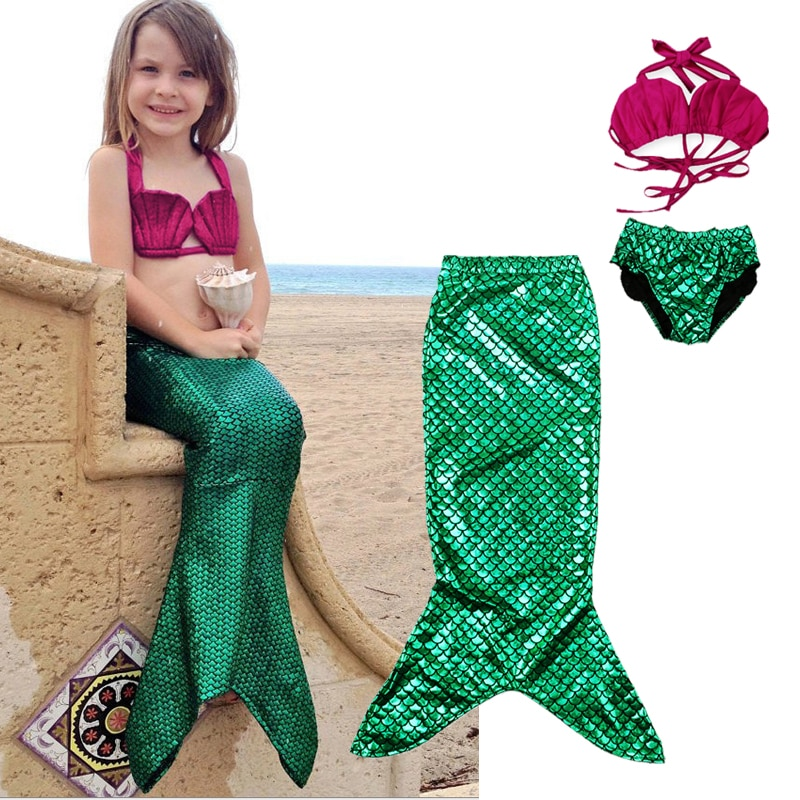 3 uds chicas cola de sirena bañador niña Bikini conjunto Baño de bebé traje disfraces de fiesta Cosplay niños traje de baño niños ropa de playa