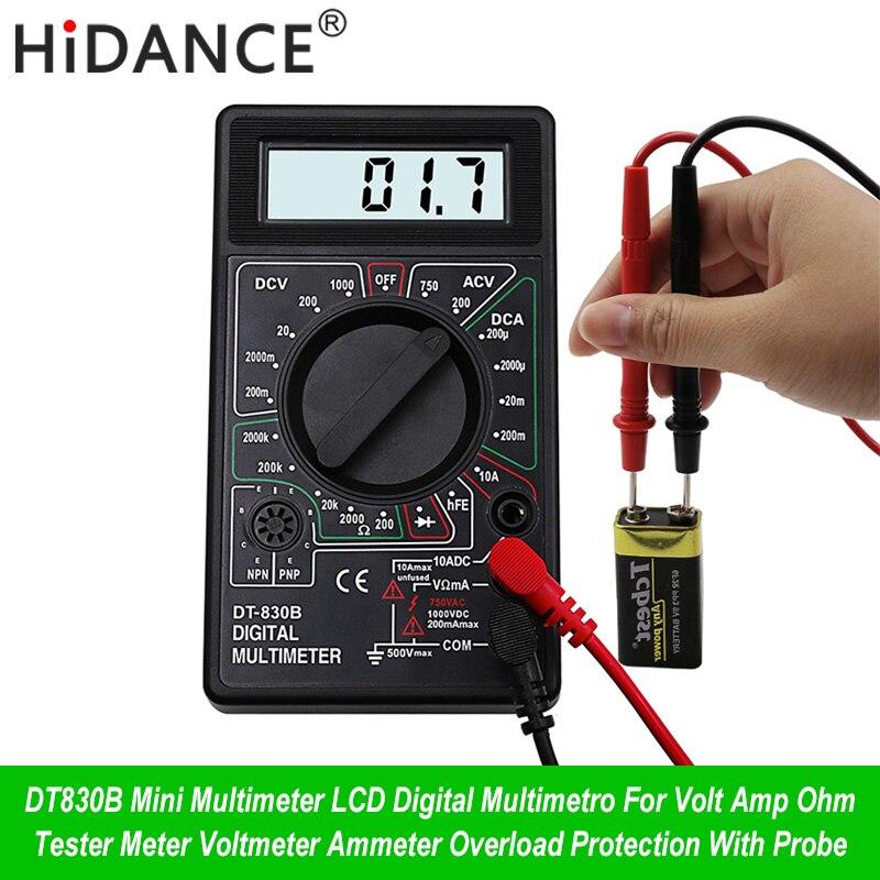 Цифровой мультиметр HiDANCE Mini с ЖК-дисплеем, вольтметр, амперметр, защита от перегрузки, с зондом