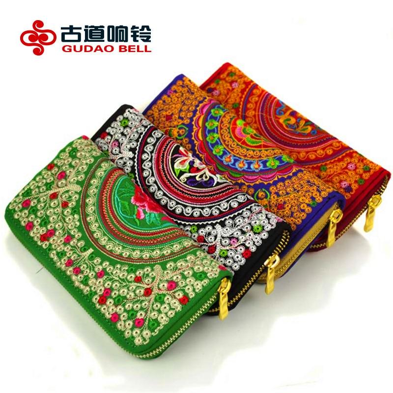 Bordado de características para mujer bolsos de lujo carteras de moda para mujer larga sección carteras bordado bolso apoyar el envío de la gota