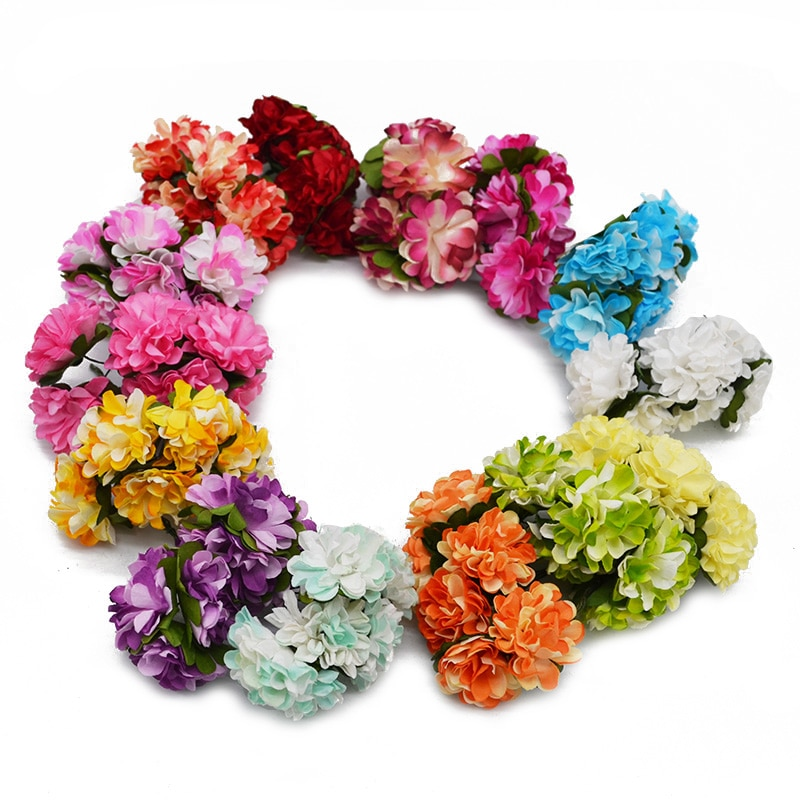 72/144 unidades/lote de 3CM de papel Artificial, ramo de flores de crisantemo para boda, fiesta, Decoración de mesa de hogar, corona de Scrapbooking DIY