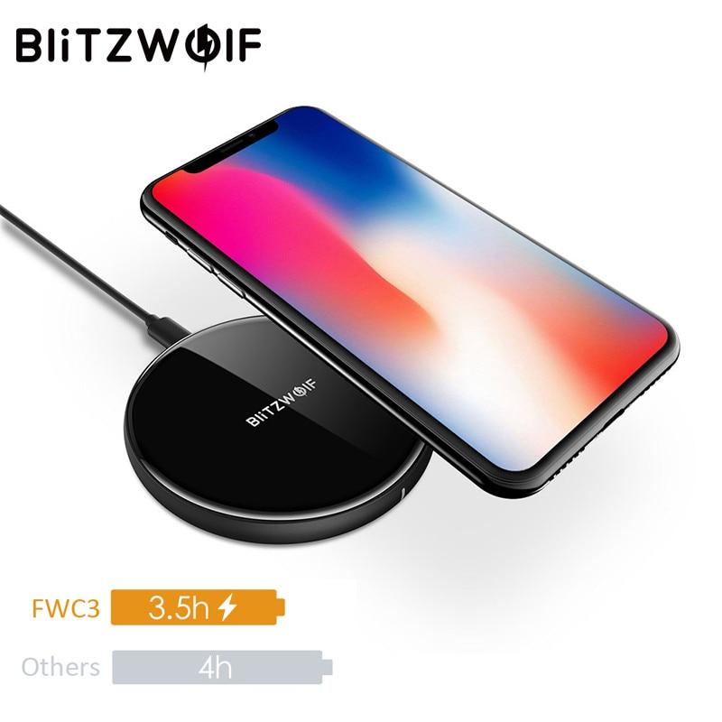 BlitzWolf 5W QI Cargador Inalámbrico Para iPhone X 8 Plus Para Samsung S8 Note 8 S9 Escritorio Teléfono Móvil Almohadilla de Carga Estación del Carga