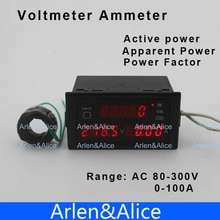 D69 Многофункциональный светодиодный дисплей Панель Вольтметр Амперметр с активной и видимой мощностью и коэффициентом мощности 80-300 В 0-100A