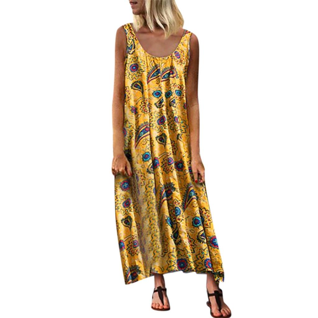 KLV 2019 Summer latest fashion Fashion Women Loose Sleeveless O-neck Irregular Print Retro Casual Dress free shipping D4