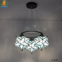 New three-character pentacle chandelier creative bar counter restaurant designer light simple bedroom glass American lighting