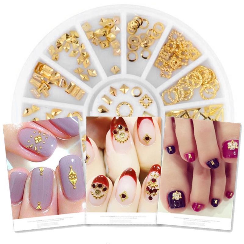1 rueda de decoración de uñas de moda diamantes de imitación remache Metal brillo belleza uñas manicura 3D resina decoraciones de arte Accesorios