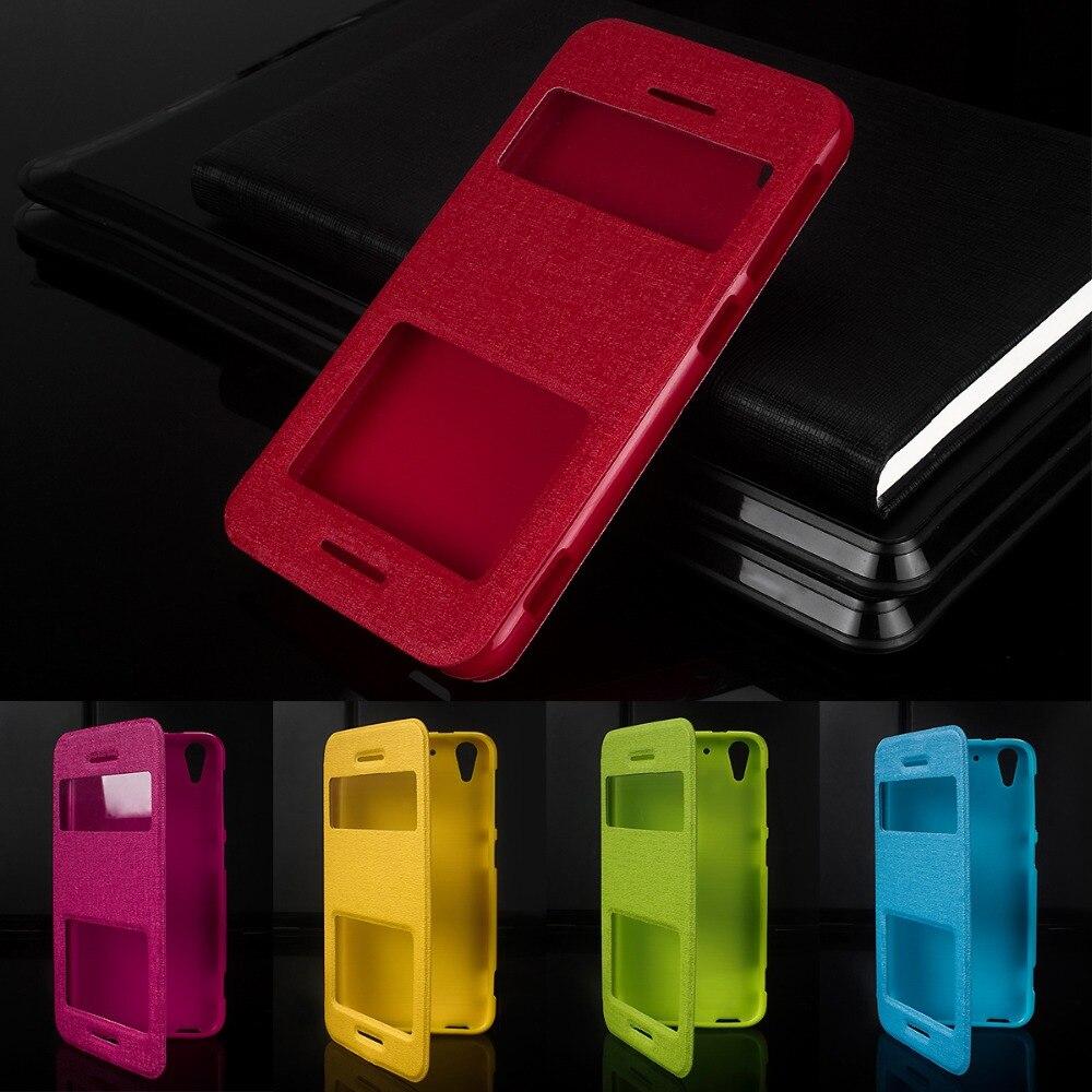 Doble ventana de cuero pu 5.2For HTC Desire Eye caso para HTC Desire ojo M910X funda trasera del teléfono móvil caso