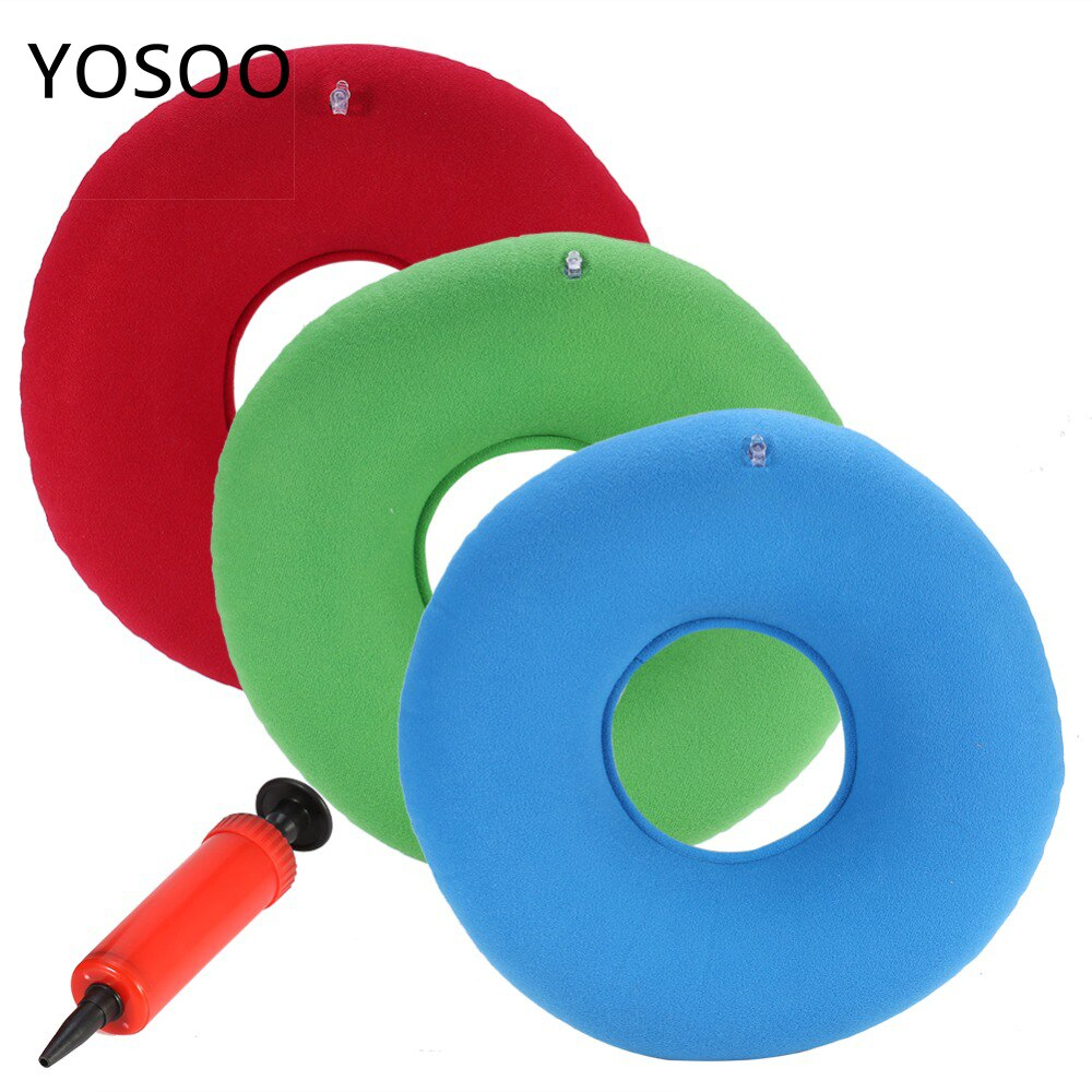Almohada redonda con anillo inflable, cojín para silla de Donut, cojín de masaje para asiento de hemorroides con bomba, rojo, verde y azul