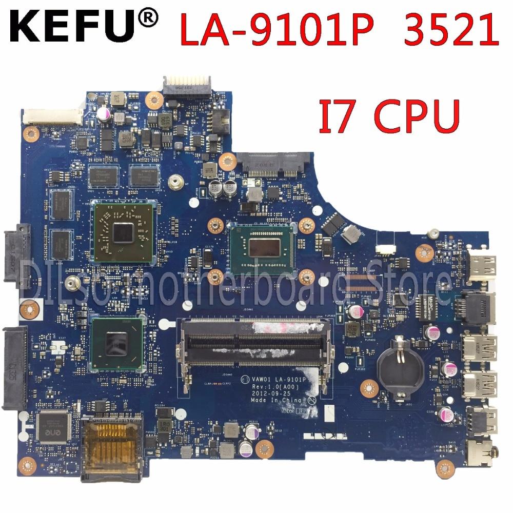 KEFU VW55C 0VW55C VAW01 LA-9101P материнская плата для DELL INSPIRON 3521 5521 материнская плата для ноутбука I7 CPU PM тестовая материнская плата