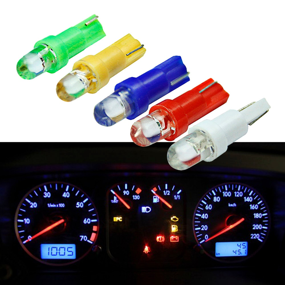 20pcs Car Interior T5 led 1 SMD Dashboard Wedge 1LED Light t5 Bulb Lamp 12v Yellow/Blue/green/red/white
